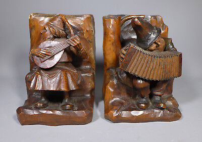 Fine Antique Treen Black Forest Carved Wood Gnome Dwarf Musician Book Ends Anri