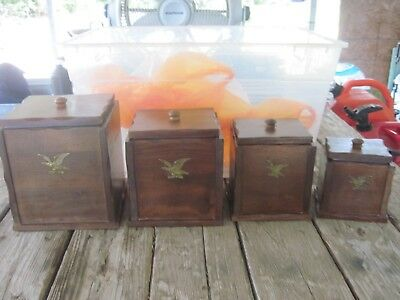 Set of 4 Vtg. 1970's or '80s Wooden Canisters with Lids & Plastic Liners-Gd.Cond
