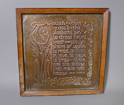 Arts And Crafts Copper Plaque With John Ruskin Quotation Inlaid Wooden Frame