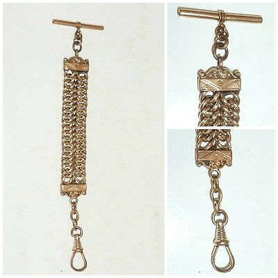 Edwardian Rolled Gold double Curb Link Watch Chain Fob T Bar Swivel