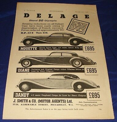 RF1393 1936 Delage 80 Olympia Mouette Diane Dandy Ad Advertisement