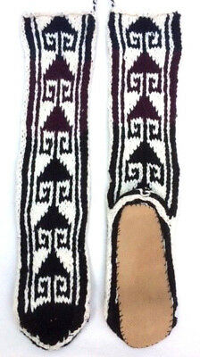 FAIRTRADE wool mix HAND knitted AFGHAN slipper SOCKS leather SOLE M 6-7-8ish M23