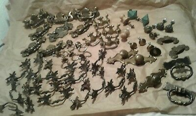 Mix Lot 50+ Vtg Old New Brass Drawer Door Cabinet Hardware Pulls Bars Restore
