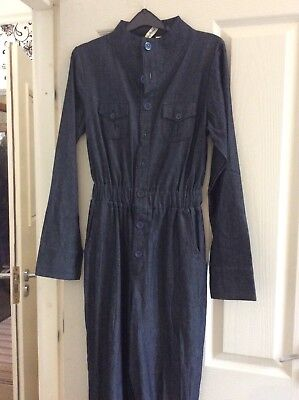 Ladies  Denim Jumpsuit with long sleeves and cuffed ankle