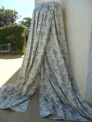 2 French antique curtains jacquard cotton and silk Marie Antoinette
