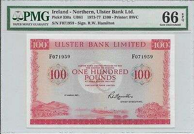 Ireland - Northern, Ulster Bank Limited - 100 pounds, 1977. PMG 66EPQ. Rare.