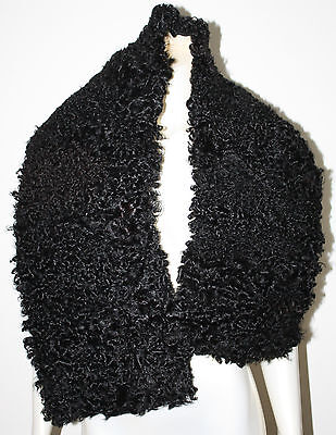"""VINTAGE Curly Lamb Large Wide Collar Piece Craft 11"""" x 51"""""""