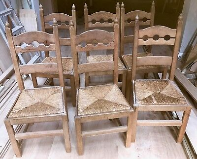 19th CENTURY FRENCH OAK DINING CHAIRS WITH RUSH SEATS - SET OF SIX - SUPERB