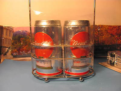 New Coca-Cola Tin Salt And Pepper Shakers With Caddy Holder, New Sealed
