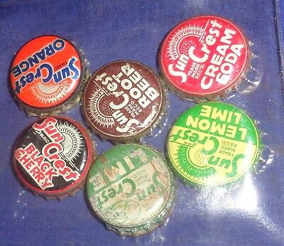 BR2033 Vtg 6 Cork Lined Bottle Caps Suncrest Orange Lime Lemon Lime Root Beer