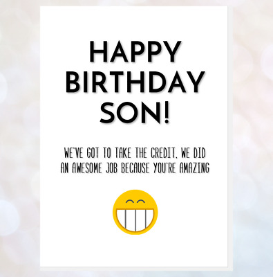 funny happy birthday card for son/daughter from mum/dad good job you're amazing