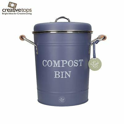 Creative Tops Bulb & Bloom Indoor Tabletop Compost Recycling Bin Pail Grey Blue