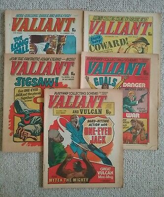 5 British VALIANT comics From 1976 -  POSTFREE UK Only