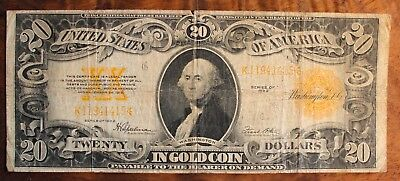 1922 Twenty Dollar Gold Certificate US Currency $20.Large Note