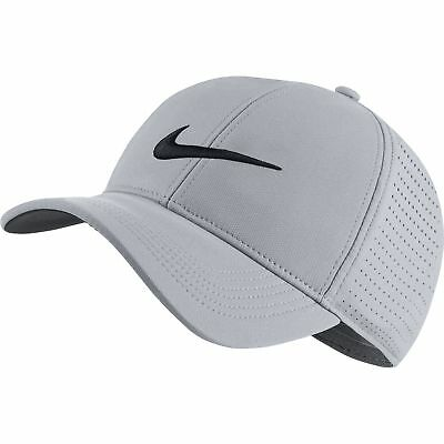NEW Nike AeroBill Perforated Light Gray/White Adjustable Golf Hat/Cap