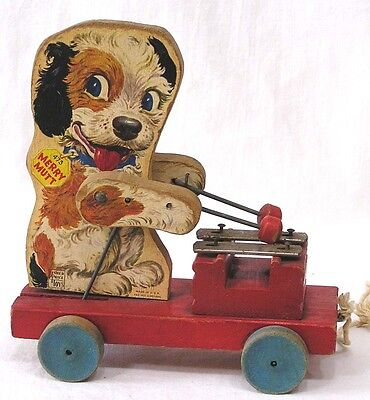 Vintage Fisher Price Pull Toy Merry Mutt #473 Plays Xylophone 1949