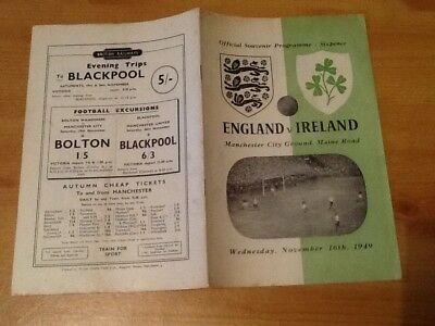 Rare 1949 England V Ireland International Football Programme Maine Rd Manchester