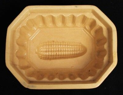 Charming Antique 19c Yellowware Corn on the Cob Pottery Food Mold AAFA