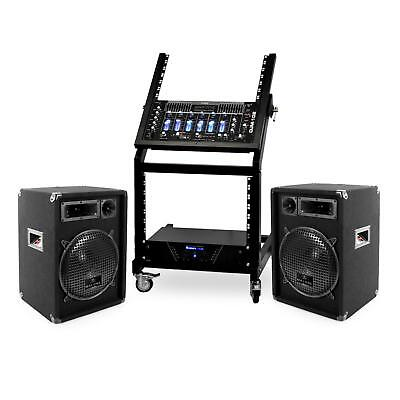 Promo Set sono complet scène disco mobile ampli PA battle mixer 2 enceintes rack