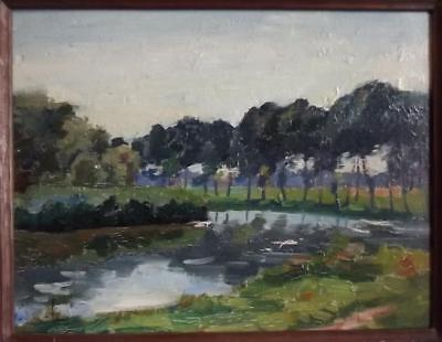 20th Century Antique IMPRESSIONIST Landscape Oil Painting Indistinctly Signed