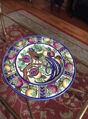 "Superb Charlotte Rhead Burleigh Ware Bird And Pomegranate 14"" Charger VGC"