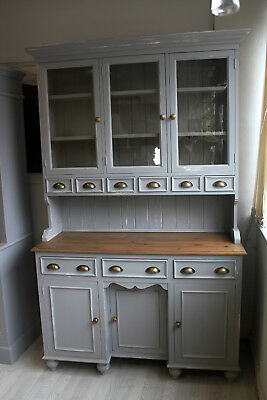 solid pine welsh dresser ucycled painted shabby chic grey glass doors