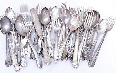 Vintage 50 pc. 3+ lbs Lot Silverplate Flatware Crafts Different Patterns (112)