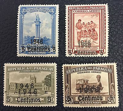 Lot of 4 1946 Paraguay Stamps Mint Never Hinged/MNH Double Overprint ST-707