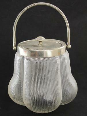 Stylish Antique Wmf Art Nouveau Silver Plated & Ribbed Glass Ice Bucket 1900