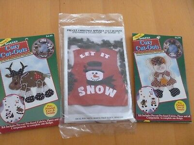 NEW Pre-Cut Christmas Appliques Kits Set of 3 Reindeer Angel Snowman