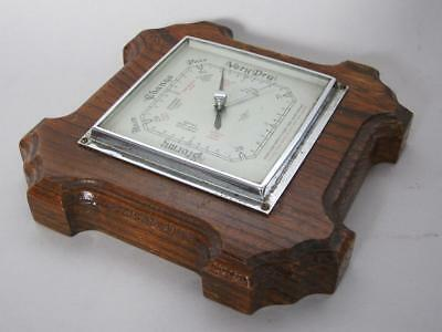 BEAUTIFUL OAK ANTIQUE ART DECO WALL HANGING ANEROID BAROMETER 1930 clock