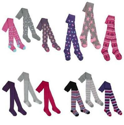 Girls Purple Butterfly Grey Star Pink Owl Tights 2-3-4-5-6-7-8 Years Winter