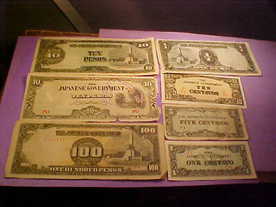 Seven WWII Japanese Invasion Banknotes One With Safe Keeping Stamp