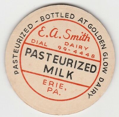 Milk Bottle Cap. E. A. Smith Dairy. Erie, Pa.