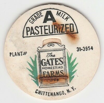 Milk Bottle Cap. The Gates Homestead Farms, Chittenango, Ny. Dairy