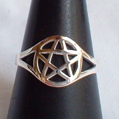 Small Pentagram Ring 925 Sterling Silver~Witch~Wicca Gift~Goth~Pagan Jewellery