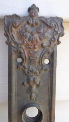 Ornate Antique Door Plate Cast Iron W/ Key Hole #78881 Size 8 ½ x 1 ¾ Inches