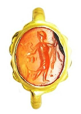 Fabulous Ancient Roman Bacchus Intaglio Gold Ring c. 2nd century A.D. Size 8 1/4