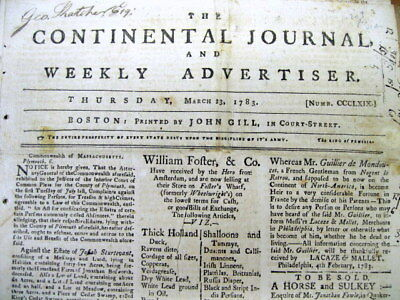1783 Boston MA newspaper REVOLUTIONARY WAR ENDING Early NEWS of a PEACE TREATY