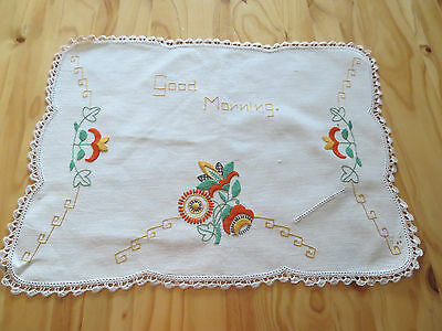 """Art Deco Embroidery - """"good Morning"""" Tray Cloth - Unused"""