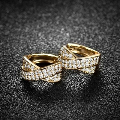 18K Gold Filled White Cubic Zirconia Crystal Unique Hoop Earrings