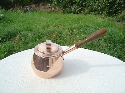 Stylish Antique Copper Pan / Saucepan / Cooking Pot With Wooden Handle - 4 Pint