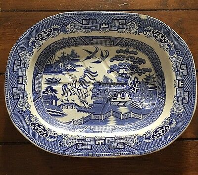 Antique Cartwright & Edwards Blue Willow Pattern Large Meat Plate