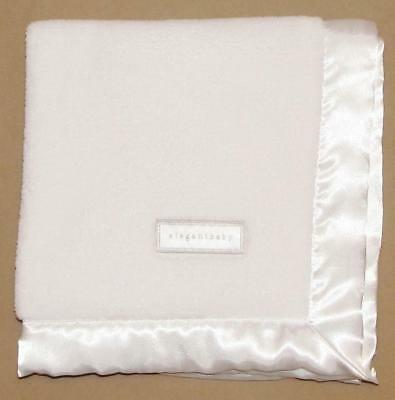 Elegant Baby Plush Solid White Satin Trim Security Blanket Lovey Square Mini