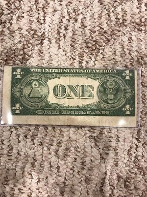 Series 1935 E Silver Certificate One Dollar $1 Blue Seal Alignment Error On Back