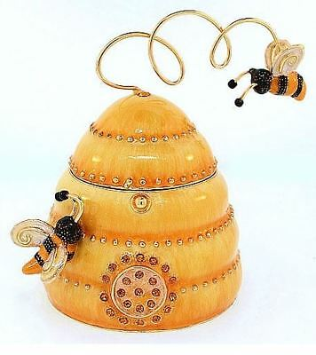 Bee Hive with Flying Bees Austrian Crystal Enameled Jewelery Trinket Box