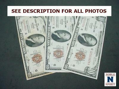 NobleSpirit NO RESERVE {RF} Fantastic 3x 1929 US $10 Brown Chicago Notes XF/VF