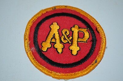 A&P Original Logo Grocery Food Supermarket Store Clerk Uniform Patch VTG 60s 70s