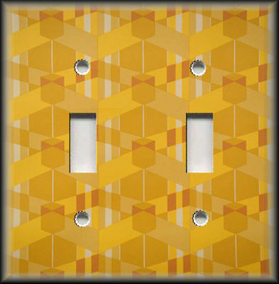 Metal Light Switch Plate Cover - Vintage Art Deco Decor Pattern 01 Golden Yellow