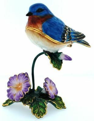 Bluebird on Flowers Bejeweled Jewelry Trinket Box with Crystals